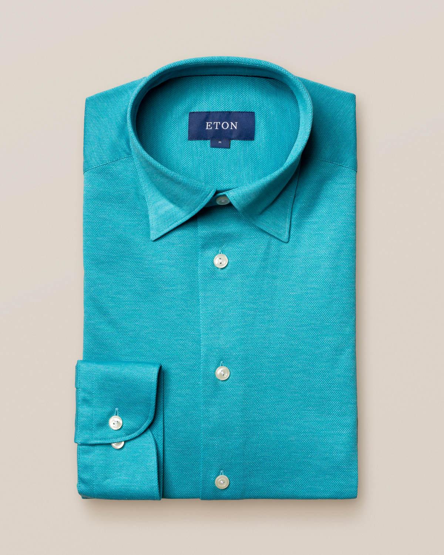 Turkos skjorta pikétyg - långärmad