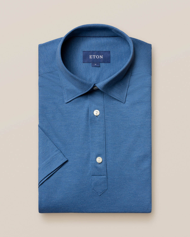 Oceanblå pikéskjorta - kortärmad