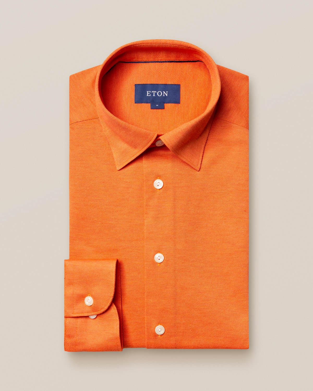 Orange skjorta pikétyg - långärmad