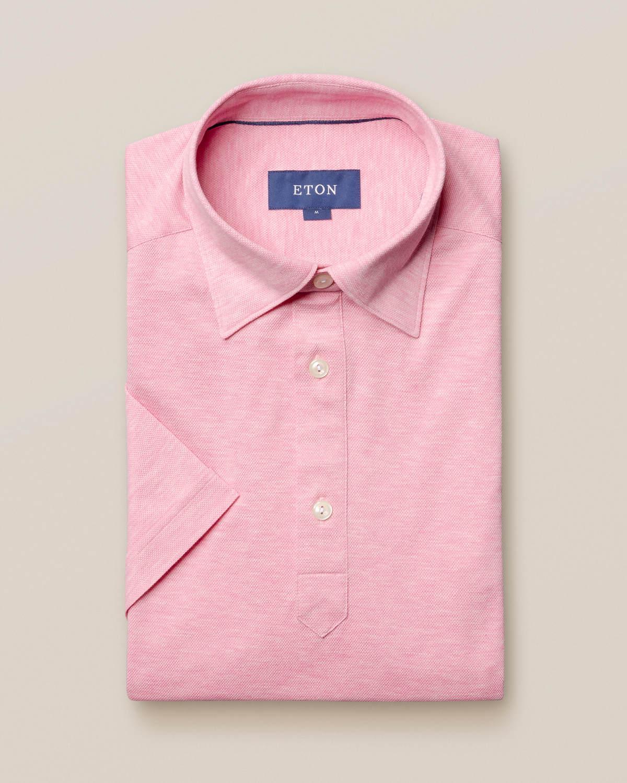 Rosa pikéskjorta - kortärmad