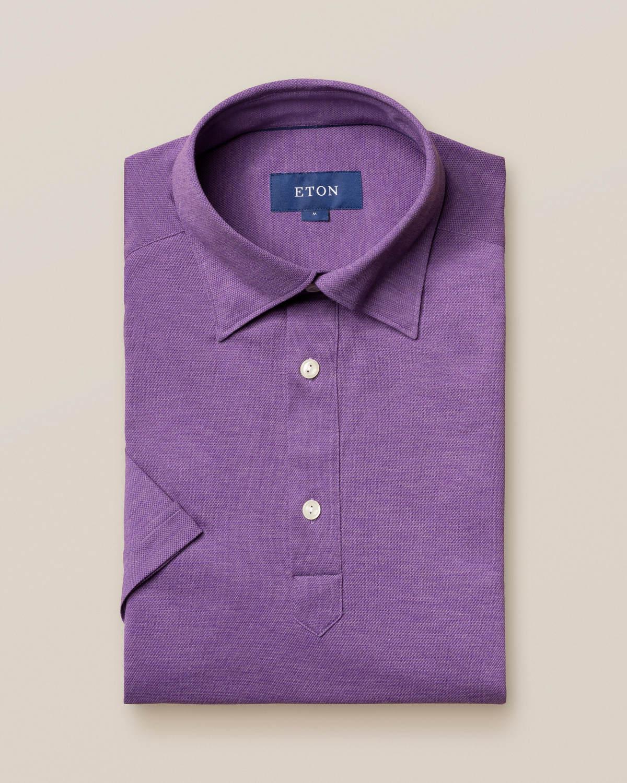 Lila pikéskjorta - kortärmad