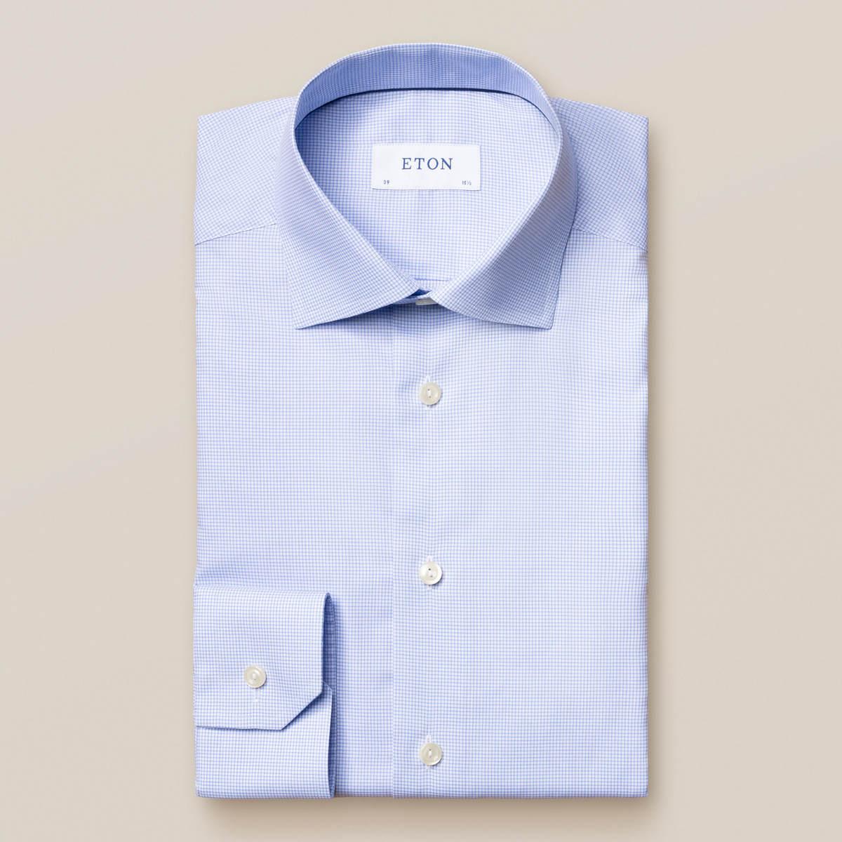 Ljusblå rutig skjorta i Fine Twill