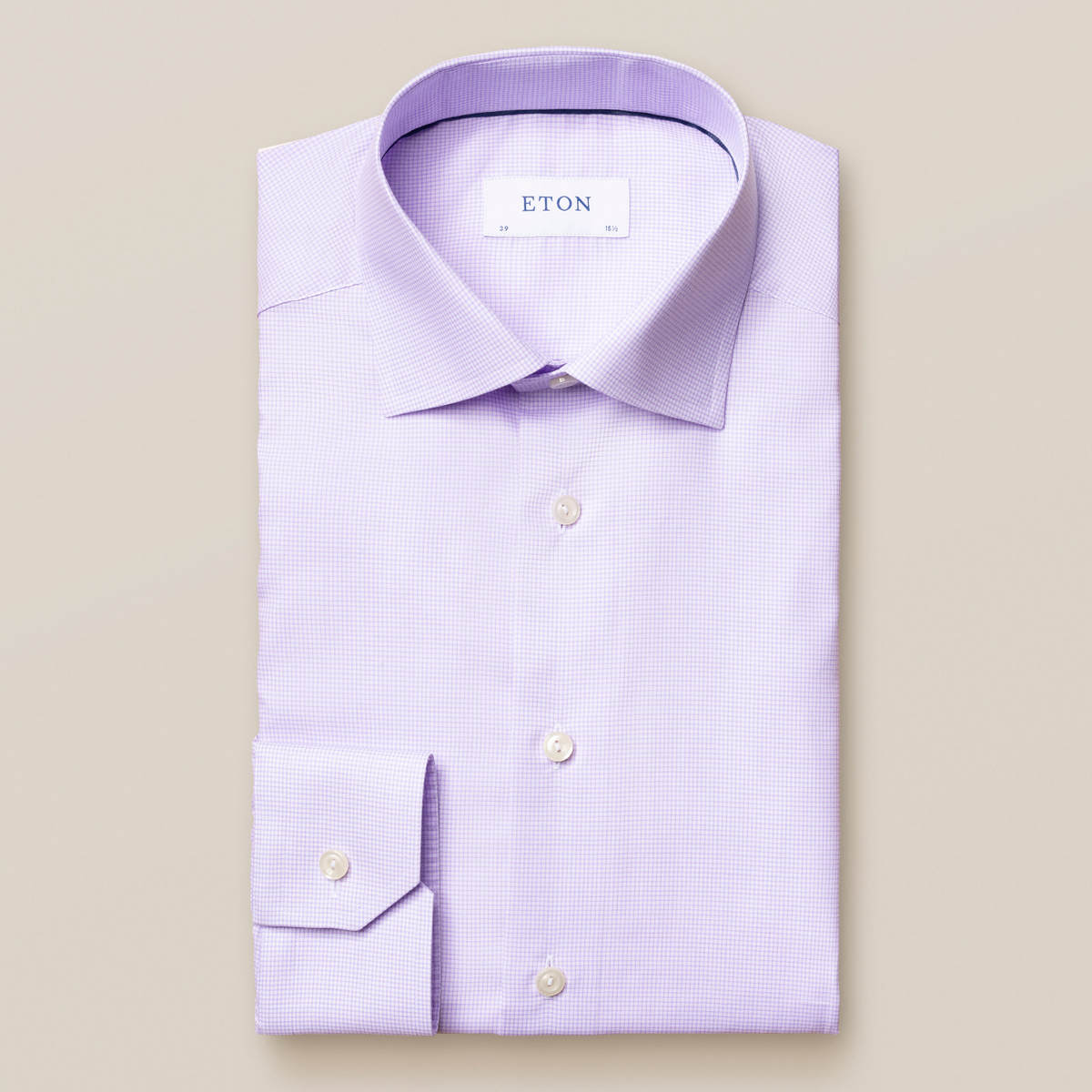 Ljuslila rutig skjorta i Fine Twill